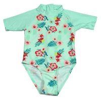 Stroje kąpielowe dla dzieci, Strój kąpielowy kombinezon dzieci 120cm filtr UV50+ - Mint Floral \ 120cm