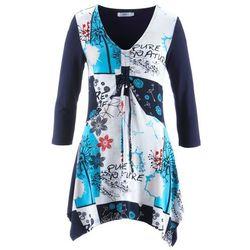Tunika shirtowa, rękawy 3/4 bonprix ciemnoniebieski z nadrukiem