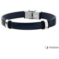 Bransoleta męska ze skóry naturalnej w kolorze niebieskim manoki ba369f