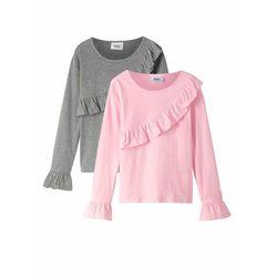 Shirt dziewczęcy z długim rękawem i falbanami (2 szt.), bawełna organiczna bonprix pudrowy jasnoróżowy + szary melanż