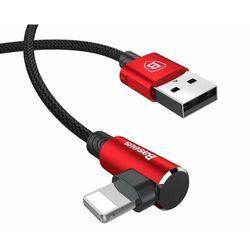 Baseus MVP | Kątowy nylonowy kabel USB - Lightning iPhone 2A 100cm | czerwony - 100cm \ Czerwony