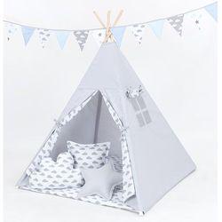 MAMO-TATO Namiot TIPI DUŻY z matą i poduszkami Popiel / chmurki szare na bieli