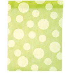 Dekoracja bieżnik na stół zielony w białe grochy - 30 cm - 1 szt.