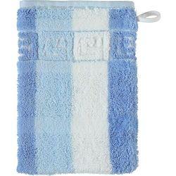 Rękawica kąpielowa classic w paski 16 x 22 cm niebieska
