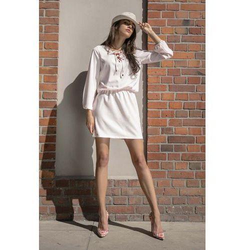 Suknie i sukienki, Pudrowa Codzienna Komfortowa Sukienka Sznurowana przy Dekolcie