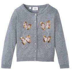 Sweter rozpinany bawełniany z cekinami bonprix jasnoszary melanż