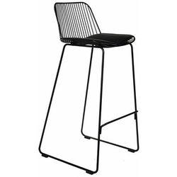 Krzesło barowe Dill High czarne z czarną poduszką - 75 \ czarny