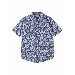 Koszula chłopięca z krótkim rękawem, Regular Fit bonprix biało-indygo