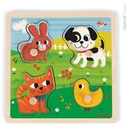 Puzzle sensoryczne drewniane Janod - Moje pierwsze zwierzątka J07080
