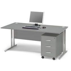 Zestaw mebli biurowych FLEXUS, biurko 1600x800 mm, kontenerek z 3 szufladami, szary