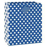 Opakowania prezentowe, Torebka prezentowa niebieska w białe kropeczki 27x32 cm - 1 szt.
