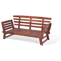 Zestawy ogrodowe, Sofa ogrodowa drewniana ciemnobrązowa regulowane podłokietniki PORTICI