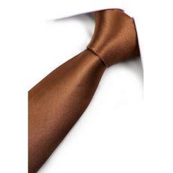 Krawat Męski Dunpillo gładki brązowy klasyczny szeroki G057