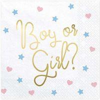 """Serwetki, Serwetki """"Boy or Girl"""", białe, PartyDeco, 33 cm, 20 szt"""