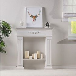 Dekoria Kominek Decor White 96x22x107, 96 × 22 × 107 cm