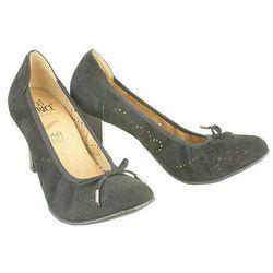 CAPRICE 22500-22 black suede, czółenka damskie - Czarny
