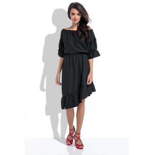 Suknie i sukienki, Czarna Asymetryczna Sukienka Hiszpanka z Rękawami do Łokcia