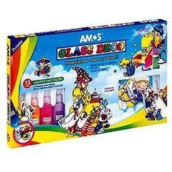 Farby witrażowe 13 kolorów x 22ml Glass Deco Amos GD22P13