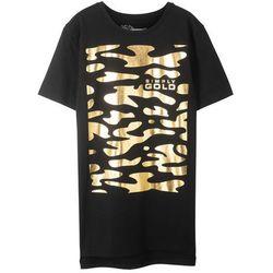 Długi t-shirt Slim Fit bonprix czarny z nadrukiem