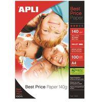 Papiery fotograficzne, Papier fotograficzny APLI Best Price Photo Paper, A4, 140gsm, błyszczący, 100ark.