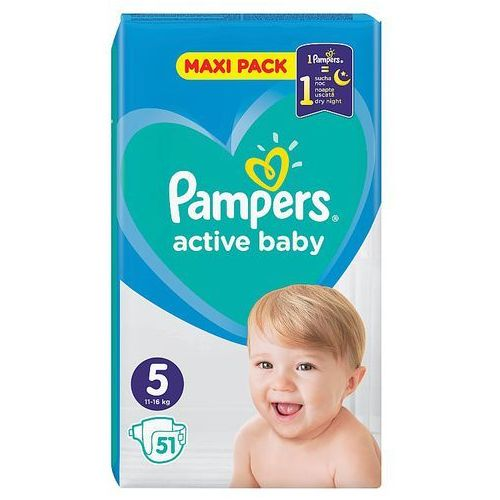 Pieluchy jednorazowe, Pampers Active Baby Rozmiar 5, 51 pieluszek, 11-16 kg