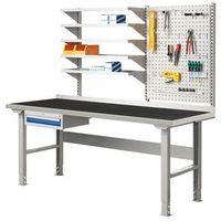 Stoły warsztatowe, Stół warsztatowy SOLID 500, z wyposażeniem, 2000x800 mm, guma