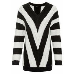 Sweter oversize w paski bonprix Sweter w pas cz-b.weł