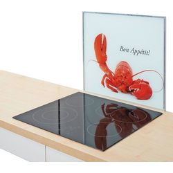 Szklana płyta ochronna HOMAR na kuchenkę – duża, kolor biały, ZELLER