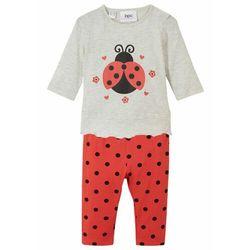 Shirt niemowlęcy + legginsy (2 części), bawełna organiczna bonprix niebieski gołębi z nadrukiem