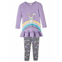 Shirt dziewczęcy + legginsy (2 części), bawełna organiczna bonprix kolor bzu - dymny lila