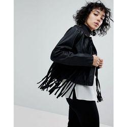 ASOS Fringe Faux Leather Biker Jacket - Black