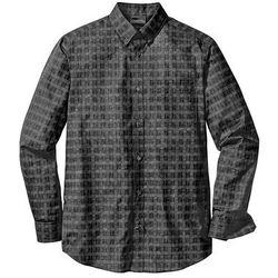Koszula biznesowa w kratę glencheck Regular Fit bonprix czarno-biały wzorzysty