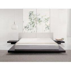 Łóżko ciemnobrązowe - 180x200 cm - łóżko drewniane - styl japoński - ZEN