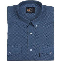 Bawełniana, niebieska koszula męska z drobnym nadrukiem Mr.Unique, krótki rękaw