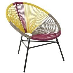 Beliani Krzesło rattanowe różowo-żółto-beżowe ACAPULCO
