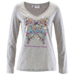 Shirt z długim rękawem bonprix jasnoszary melanż z nadrukiem
