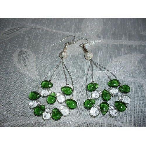 Kolczyki, K-00077 Kolczyki z zielonymi i przezroczystymi łezkami
