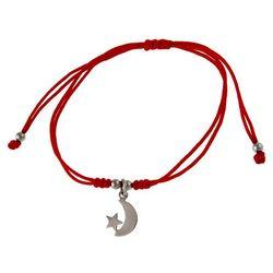 Bransoletka szczęścia celebrytka księżyc moon gwiazdka star bawełna srebro 925 B0685