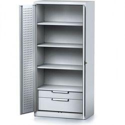 Szafa warsztatowa MECHANIC, 1950 x 920 x 500 mm, 3 półki, 2 szuflady, szare drzwi