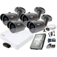 Zestawy monitoringowe, ZM11837 Zestaw do monitoringu 4 kamery IR 30m Rejestrator Hikvision FullHD Dysk 1TB