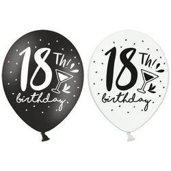 Balony lateksowe z nadrukiem 18th! birthday czarne i białe - 30 cm - 5 szt.