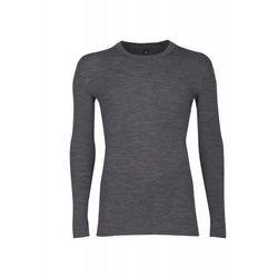 Koszulka męska z wełny merynosów (100%) - długie rękawy; dopasowana, delikatny prążkowany splot - DILLING - grafitowa/ciemnoszara