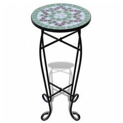 Zielono-biały mozaikowy stojak na kwiaty - Cadix