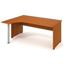 Biurko narożne UNI, drewniane nogi, prawe, 1800 x 1200 x 755 mm, czereśnia