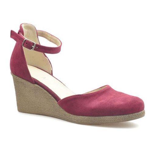 Sandały damskie, Sandały Amart 2219 Bordowe zamsz