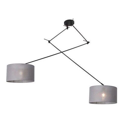 Lampy sufitowe, Lampa wisząca regulowana czarna klosz szary 35cm - Blitz II
