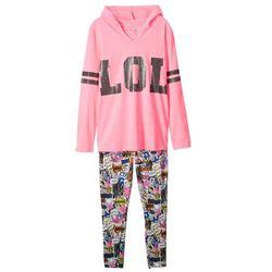 Shirt dziewczęcy z kapturem + legginsy (2 części) bonprix różowy neonowy z nadrukiem