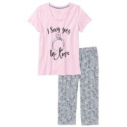 Piżama ze spodniami 3/4 bonprix kryształowy jasnoróżowy - szary melanż z nadrukiem