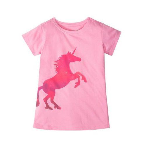 Bluzki dziecięce, Shirt dziewczęcy z nadrukiem jednorożca bonprix jasnoróżowy