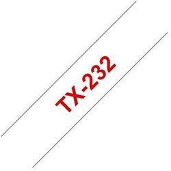 Brother TX-232 Taśma 12mm, laminowana biała, czerwony nadruk
